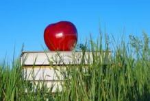 books and apple in grass