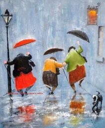 old ladies in rain